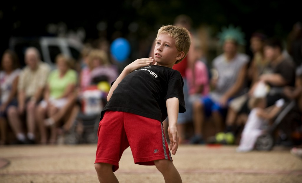 Brandon Reynolds, 9, of Front Royal, dances to the band Souled Out during Front Royal's National Night Out held on Monday on East Main Street. Police departments through the area held events to increase community support between the police an